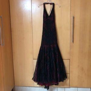 Sue Wong black lace long dress